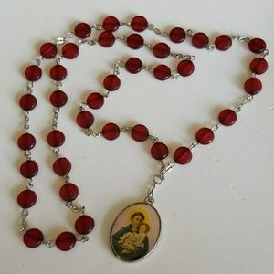 ST. ANTHONY RED beads Rosary